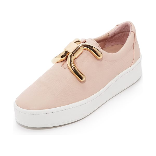 An Hour and A Shower knot sneakers in nude - A polished, metal knot adds a sculptural aesthetic to...