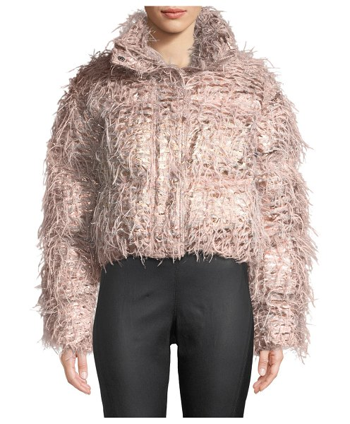 Anais Jourden Kira Confetti Cropped Puffer Jacket in pink