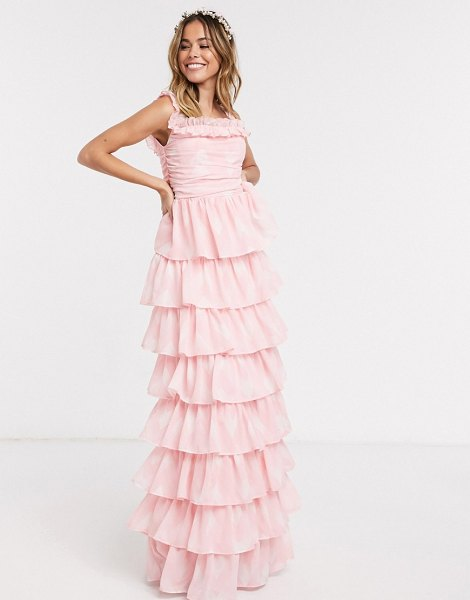 Anaya with love frill off shoulder printed tiered prom maxi dress in pink print in pink