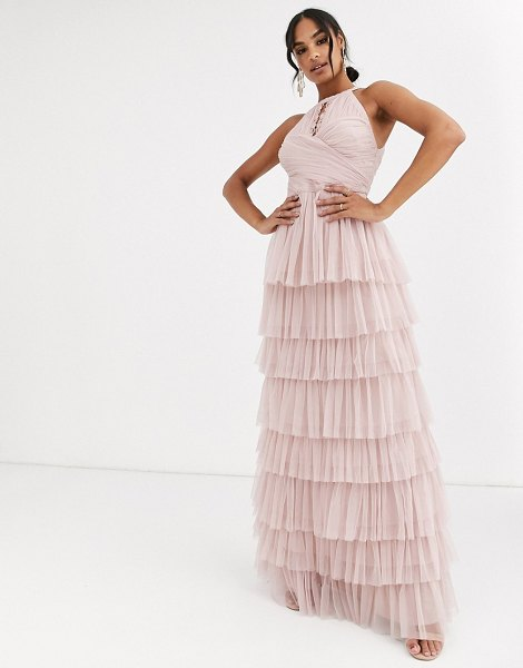 Anaya with love halter neck tiered maxi dress with keyhole detail in frosted pink in pink