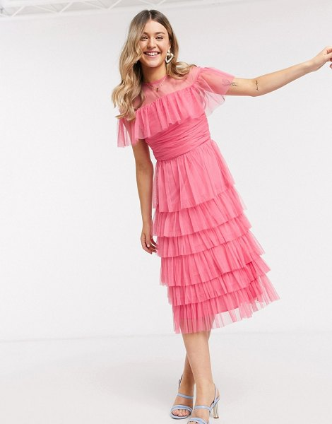 Anaya with love mesh top tiered ruffle midi dress in pink in pink
