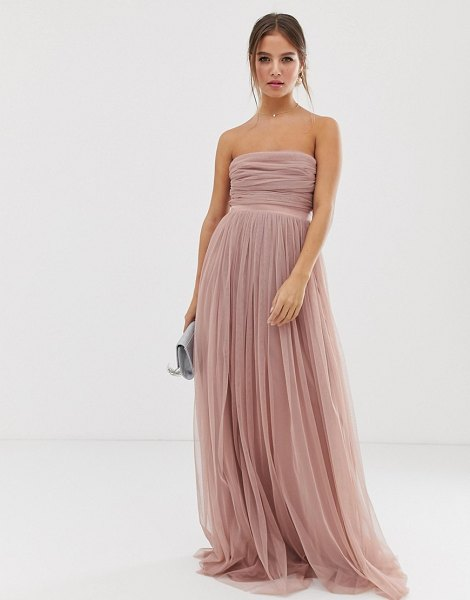 Anaya with love tulle bandeau maxi dress with satin trim in blush-pink in pink