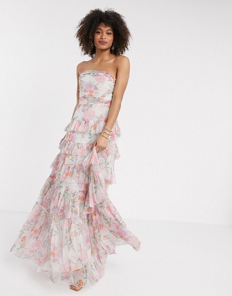 Anaya with love tulle bandeau tiered maxi dress in pink floral print in pink