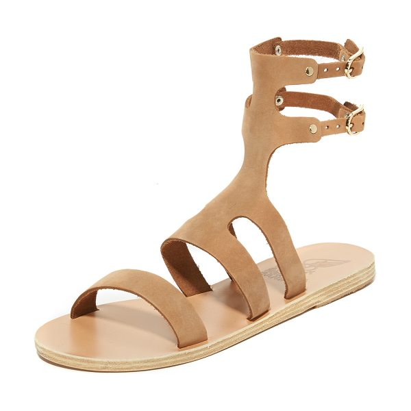 Ancient Greek Sandals agapi sandals in cappuccino - Flat Ancient Greek Sandals in a sturdy gladiator...