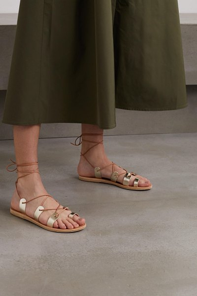 Ancient Greek Sandals alcyone lace-up metallic leather sandals in gold