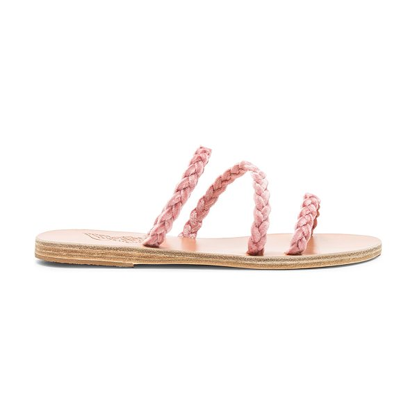 Ancient Greek Sandals Alkimini Sandal in pink - Velvet textile upper with leather sole. Slip-on styling....