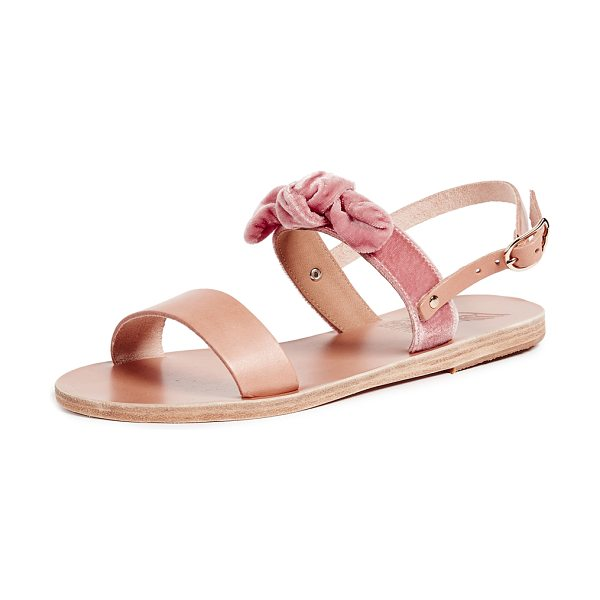 Ancient Greek Sandals clio bow sandals in natural/dusty rose - Fabric: Velvet Leather: Cowhide Leather lined Signature...
