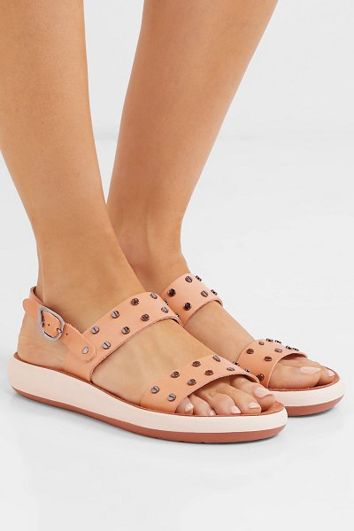 Ancient Greek Sandals dinami studded leather and suede slingback sandals in neutral