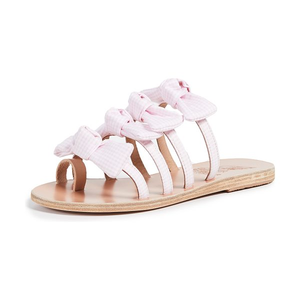 1376be4b56e8a Ancient Greek Sandals hara slides in gingham pink - Fabric: Gingham Bow  detail on straps