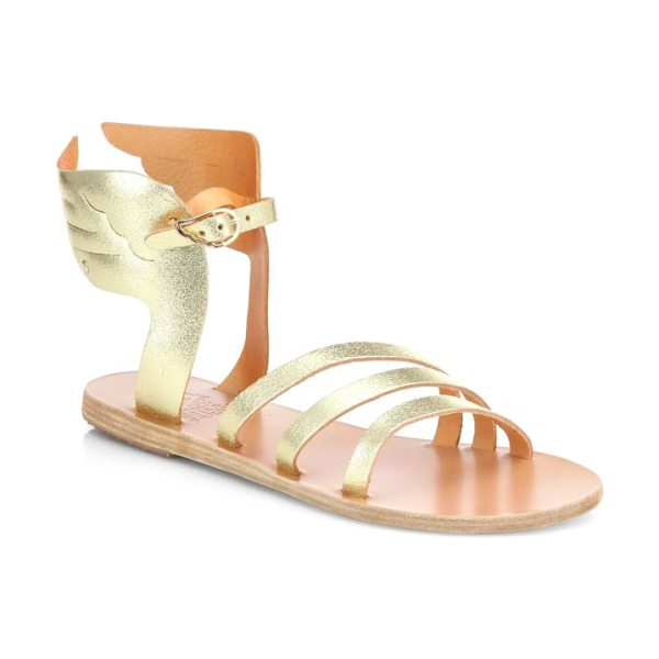 Ancient Greek Sandals Ikaria winged metallic leather sandals in crackedgold - You'll soar above the rest sporting these artfully...