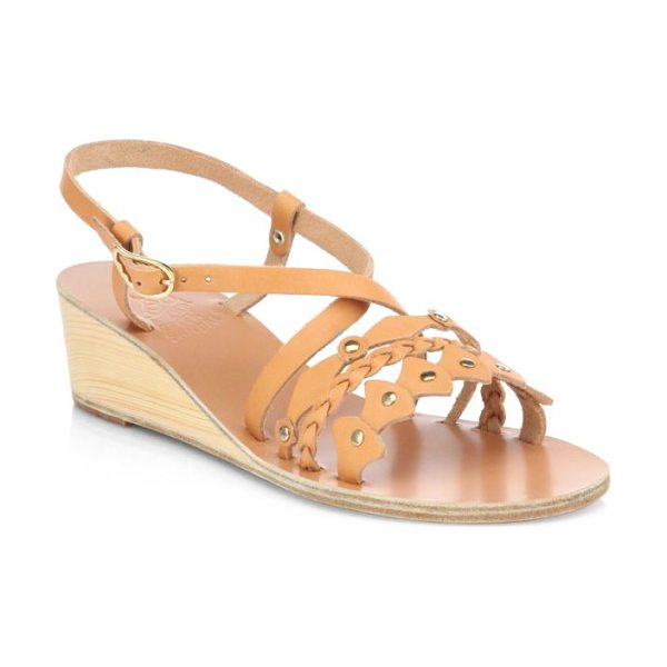Ancient Greek Sandals Lysistrate leather wedge sandals in natural - A wooden wedge adds natural style to a supple leather...