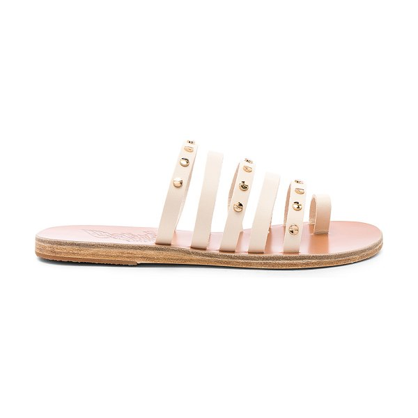 Ancient Greek Sandals Niki Nails Sandal in cream - Leather upper and sole. Slip-on styling. Rubber tap...