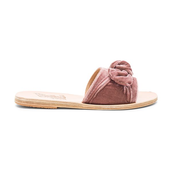 Ancient Greek Sandals Taygete Bow Velvet Sandal in mauve - Velvet textile upper with leather sole. Slip-on styling....