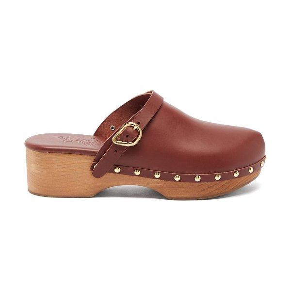 Ancient Greek Sandals wing-buckle leather clog mules in dark brown