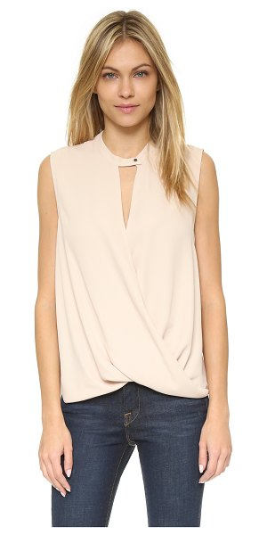 And B Signature sleeveless top in sand - Draped panels give this And B blouse a fluid look. A...