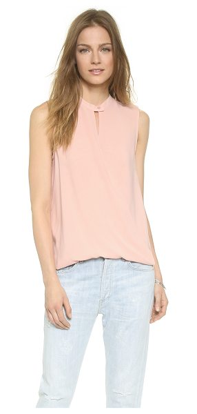 And B Signature sleeveless twist front blouse in blush - Crossover panels twist at the hem of this airy And B...