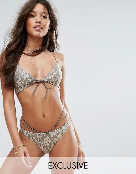 And CO And Co Gold Lace Bralette Bikini Top in gold - Bikini top by And Co, Lace-swim fabric, Floral design,...
