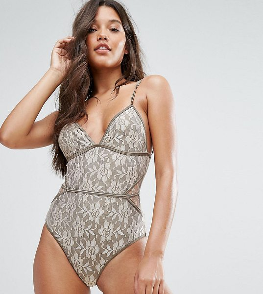 """And CO And Co Gold Lace Swimsuit in gold - """"""""Swimsuit by And Co, Lace swim fabric, Plunge neck,..."""