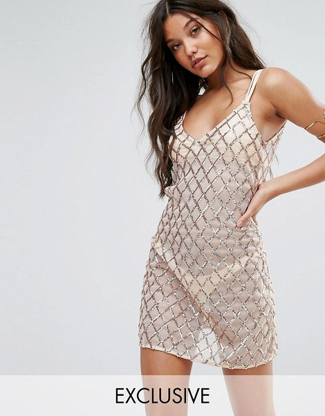 """AND CO And Co Sequin Pool Party Mini Beach Dress in gold - """"""""Beach dress by And Co, Lightweight sheer fabric,..."""