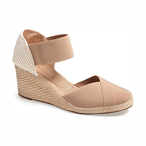 Andre Assous anouka sandal in taupe - An earthy weave crafts the open heel of an elasticized...