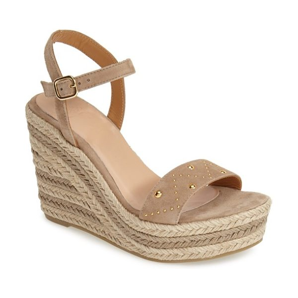 Andre Assous brasilia ankle strap espadrille sandal in taupe/ studs - A braided jute wedge and platform elevate this classic...