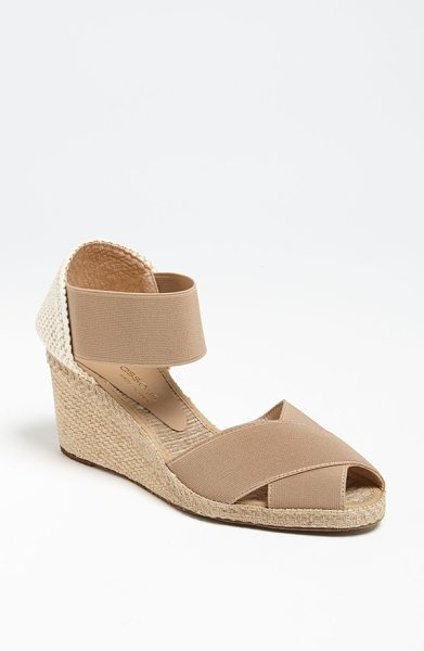 Andre Assous erika sandal in taupe - A beachy, jute wedge lifts a breezy sandal with stretchy...