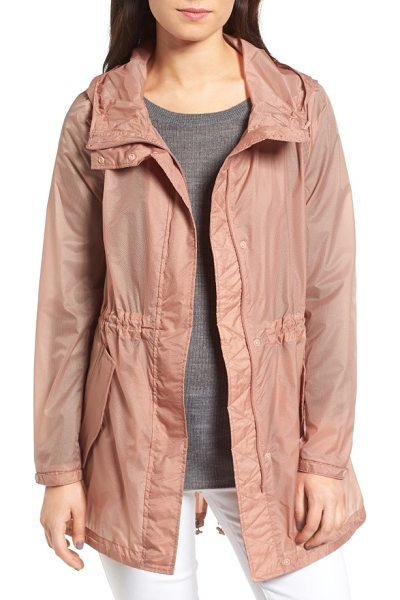 Andrew Marc teri translucent rain jacket in blush - Textured and translucent, a water-resistant hooded...