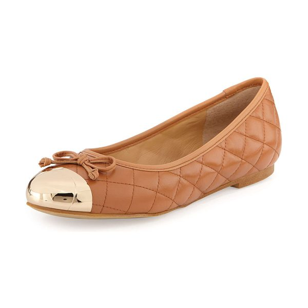 """ANDREW STEVENS Lalo quilted metallic cap-toe ballet flat -  Andrew Stevens quilted leather ballet flat. Flat 1/4""""..."""