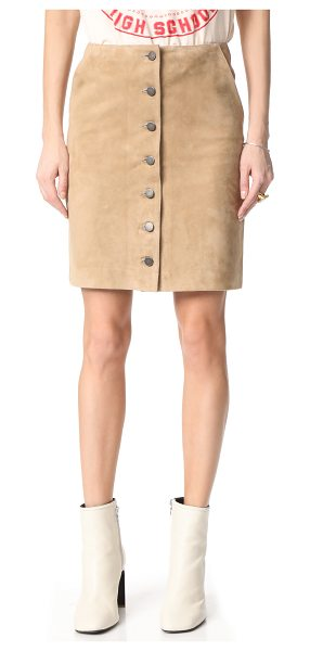 Anine Bing button down suede skirt in beige - This polished ANINE BING skirt is cut from supple suede....