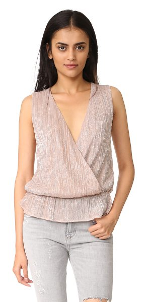 ANINE BING draped top in rose metallic - Two-tone metallic threads lend a shimmering finish to...