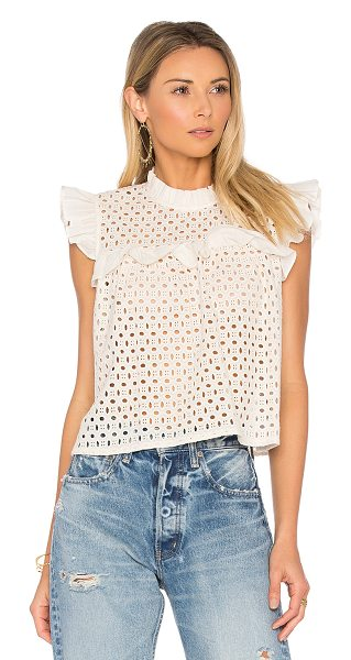 Anine Bing Eyelet Top in beige - 50% poly 50% cotton. Dry clean only. Eyelet fabric....