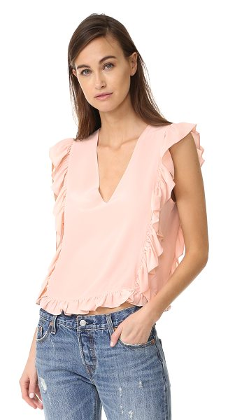 Anine Bing frill v neck top in pink - Charming ruffles trace the edges of this feminine ANINE...