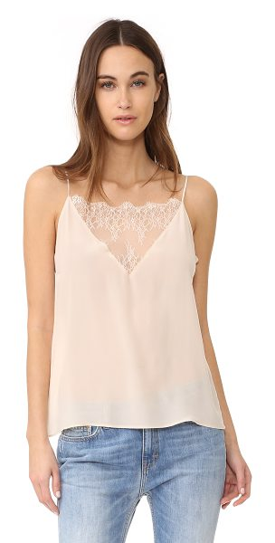 Anine Bing lace camisole in nude - A feather-light silk ANINE BING cami. A lace inset...