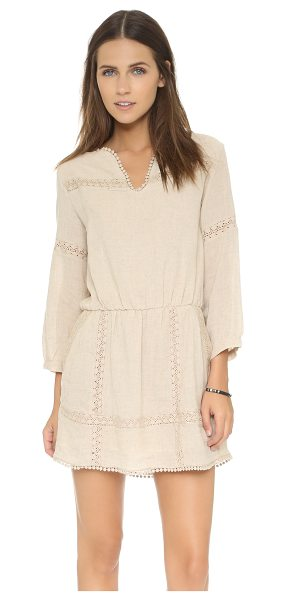 Anine Bing Lace detail dress in sand - Patterned lace insets add a sweet touch to this simple...