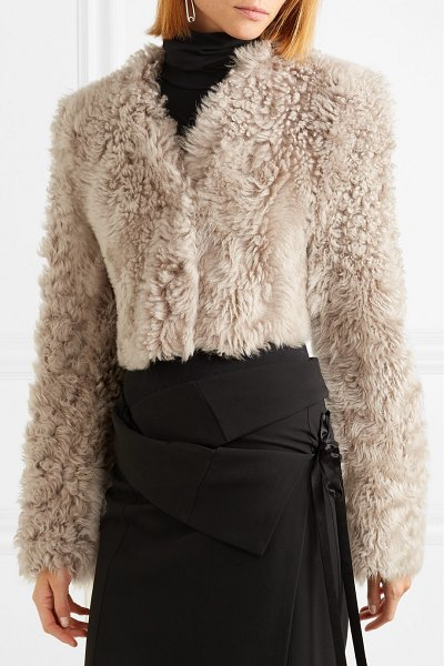Ann Demeulemeester cropped shearling jacket in beige - Shearling jackets are set to remain a favorite for Fall...