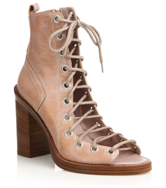 Ann Demeulemeester leather lace-up boot sandals in rose - Chunky heel lifts edgy leather lace-up sandals. Stacked...