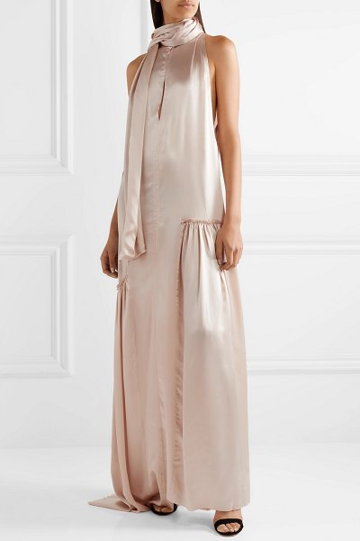Ann Demeulemeester ruched silk-satin gown in pastel pink - The unique detailing on Ann Demeulemeester's gown is...