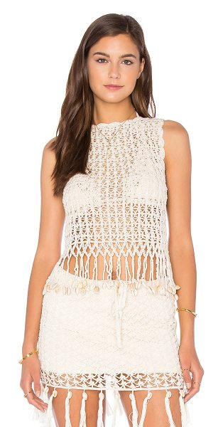 Anna Kosturova Gypsy Top With Shells in beige - 100% cotton. Hand wash cold. Shell accents. AKOS-WX134....