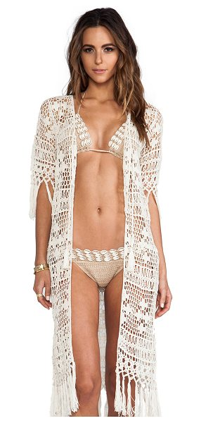 Anna Kosturova Tassel Duster in cream - 100% cotton. Unlined. Hand wash cold. Crochet overlay....
