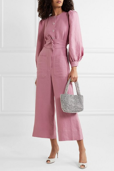 Anna Mason jane belted linen jumpsuit in blush