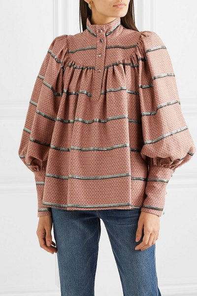 Anna Mason kasia metallic embroidered cotton-blend jacquard blouse in pink