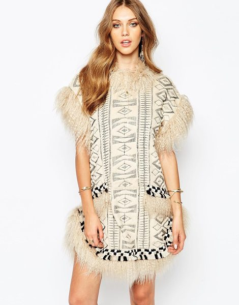 Anna Sui Mongolian faux fur dress in cream - Dress by Anna Sui Soft faux fur All over geo design...