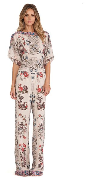 Anna Sui Prince of pagodas print jumpsuit in beige - Silk blend. Hidden center back zipper closure. ASUI-WR7....