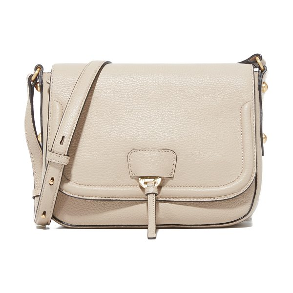 Annabel Ingall camille saddle bag in stone - Faceted studs accent this pebbled leather Annabel Ingall...