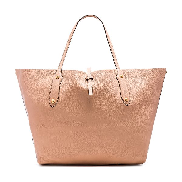 Annabel Ingall Isabella Large Tote Bag in beige - Leather exterior with raw leather lining. Strap latch...