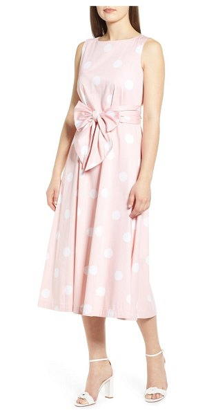 Anne Klein deauville dot print stretch cotton midi dress in pink - Wedding invitations will be most welcome, so you can...