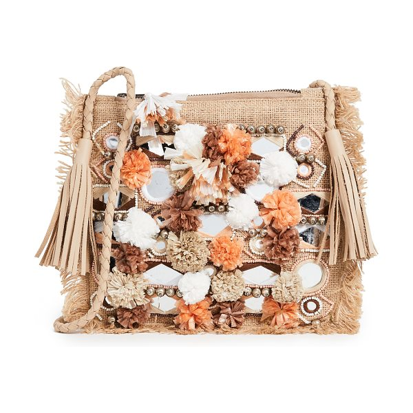 Antik Batik charlie cross body pouch in cream - Fabric: Burlap Bead, straw, and mirror details Zip at...
