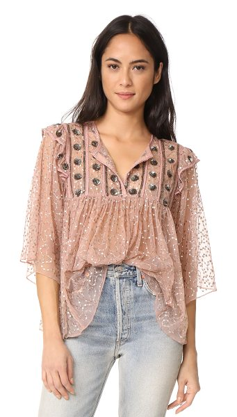 ANTIK BATIK pati embroidered blouse - Embroidery and tiny sequins detail this delicate mesh...
