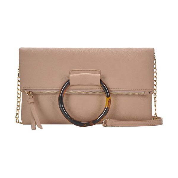 ANTIK KRAFT ring convertible faux leather clutch in pink
