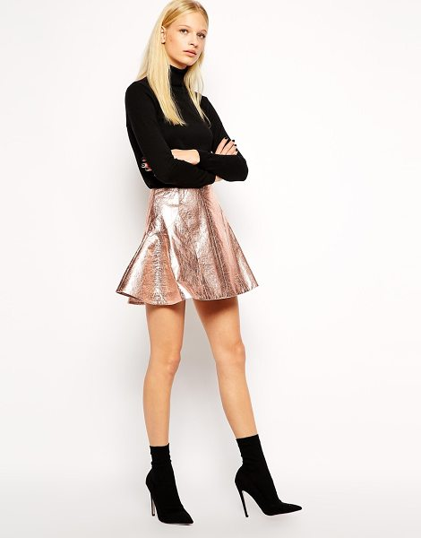 Antipodium Retriever skirt in metallic coated fabric in metallic foil - Skirt by Antipodium Leather-look fabric Metallic coated...
